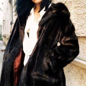 Brown faux fur coat vintage
